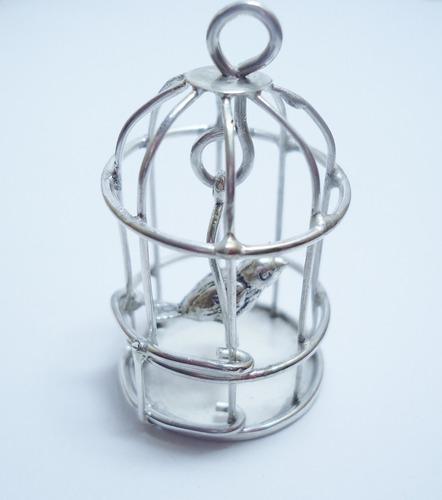 dije de jaula con pajarito hecho en plata ley.925