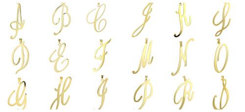 dije de letra chapa de oro 14k con cadena 3cm con envio