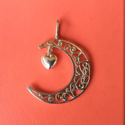 dije de luna y corazón inflado doble vista plata 925
