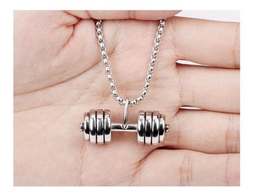 dije de mancuerna con cadena de acero inoxidable - 396