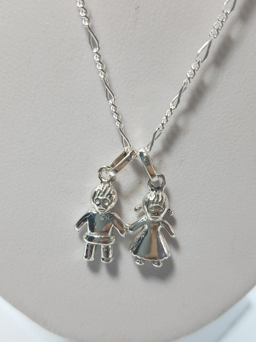 f6cb2729bed4 dije de niña y niño plata ley .925 incluye cadena joyeria. Cargando zoom.