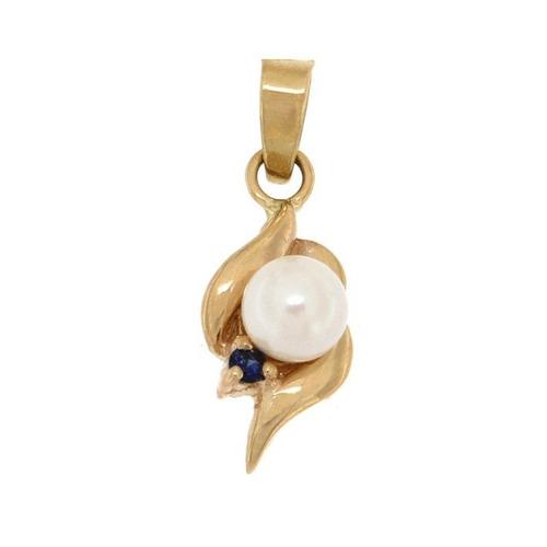 dije de oro 14k con perla y zafiro piedras preciosas