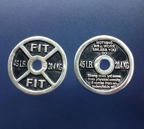 dije de pesa disco olimpico gym con placa en plata ley.925
