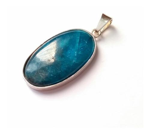 dije de piedra apatito azul natural pulida - plata .925
