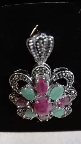 dije de plata 925 con esmeraldas, rubies y marquesitass