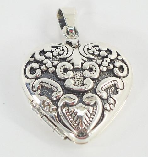 dije de plata corazón antiguo relicario guardapelo ley.925