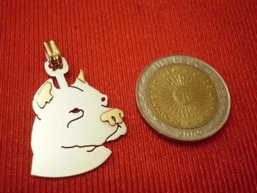 dije dogo argentino en plata con oro