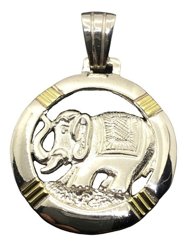 dije elefante plata y oro (i5796)