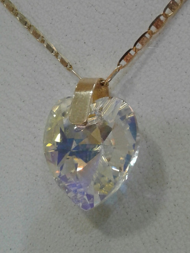 dije  en oro 18k y cristal swarovski original