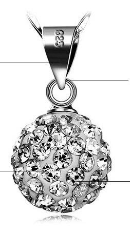 dije esfera para regalo! piedras swaroski y plata 925