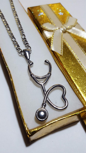 dije estetoscopio de acero quirurugico 316l + cadena + caja