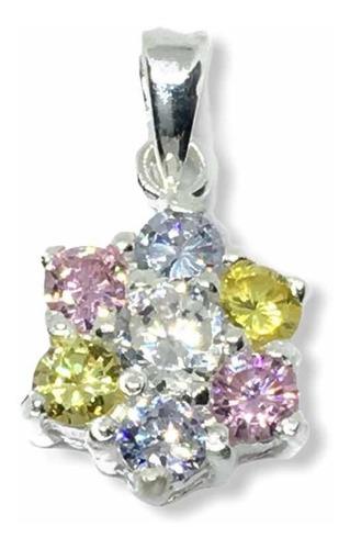 dije flor con cadena de plata 925 y piedras (arg50056)