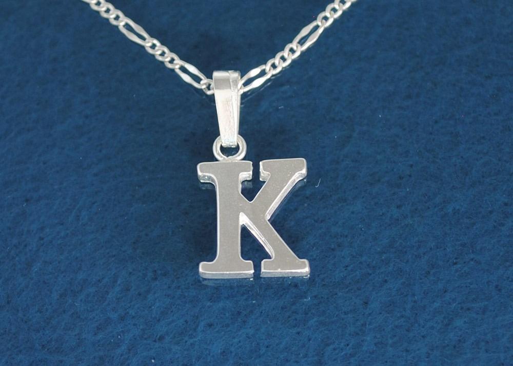 fbefb68f9e59 dije inicial letra k fina plata con cadena 45 cm b142-1. Cargando zoom.