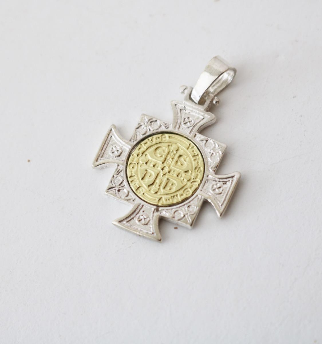 d7985ab7fb0 dije medalla cruz san benito plata 925 oro 18k garantia. Cargando zoom.