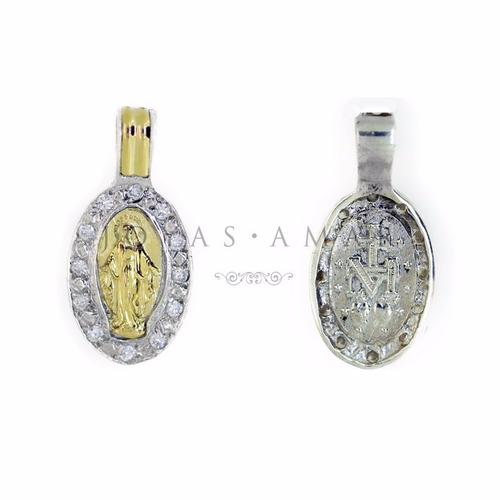 dije medalla milagrosa oval con piedras plata y oro