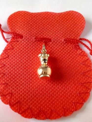 dije medalla poporo con piedra  artesanal en oro/joya 00136