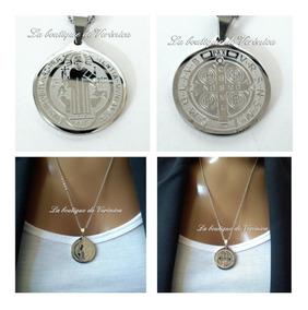 eee29b4726a7 Dije Medalla San Benito Chica Acero Inoxidable