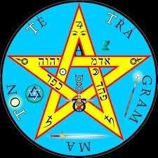 dije medalla tetragramaton pentagrama plata/oro pequeñ 00020