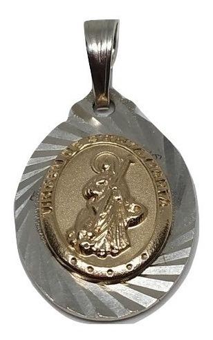 dije medalla virgen santa marta grande plata con oro 00323
