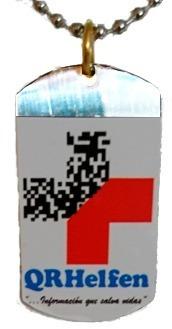 dije metálico con datos clínicos personales código qr