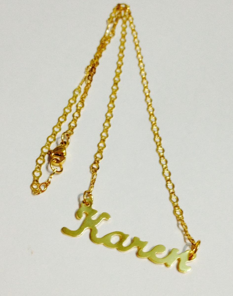 0f548b8d7a4c dije nombre personalizado en baño de oro con cadena. Cargando zoom.