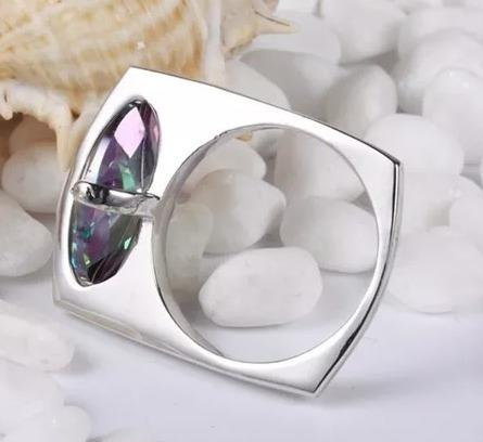 dije palito aros y anillo plata 925 diseno topacio mistico