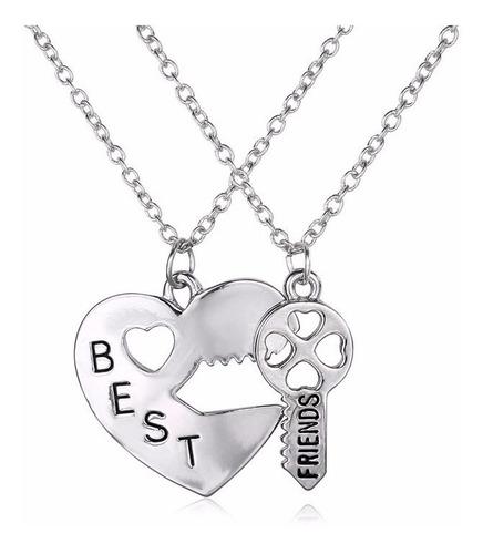 dije parejas best friend corazon llave - color plata