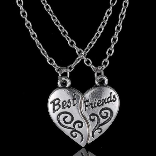 dije parejas corazon best friends - color plata