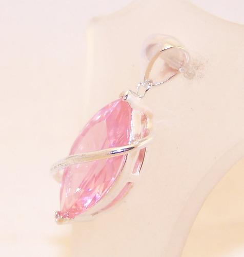 dije piedra cubic rosado plata 925 gota