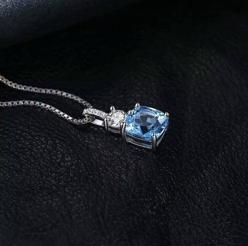 dije plata 1.3 qt topacio azul natural cadena de plata mujer