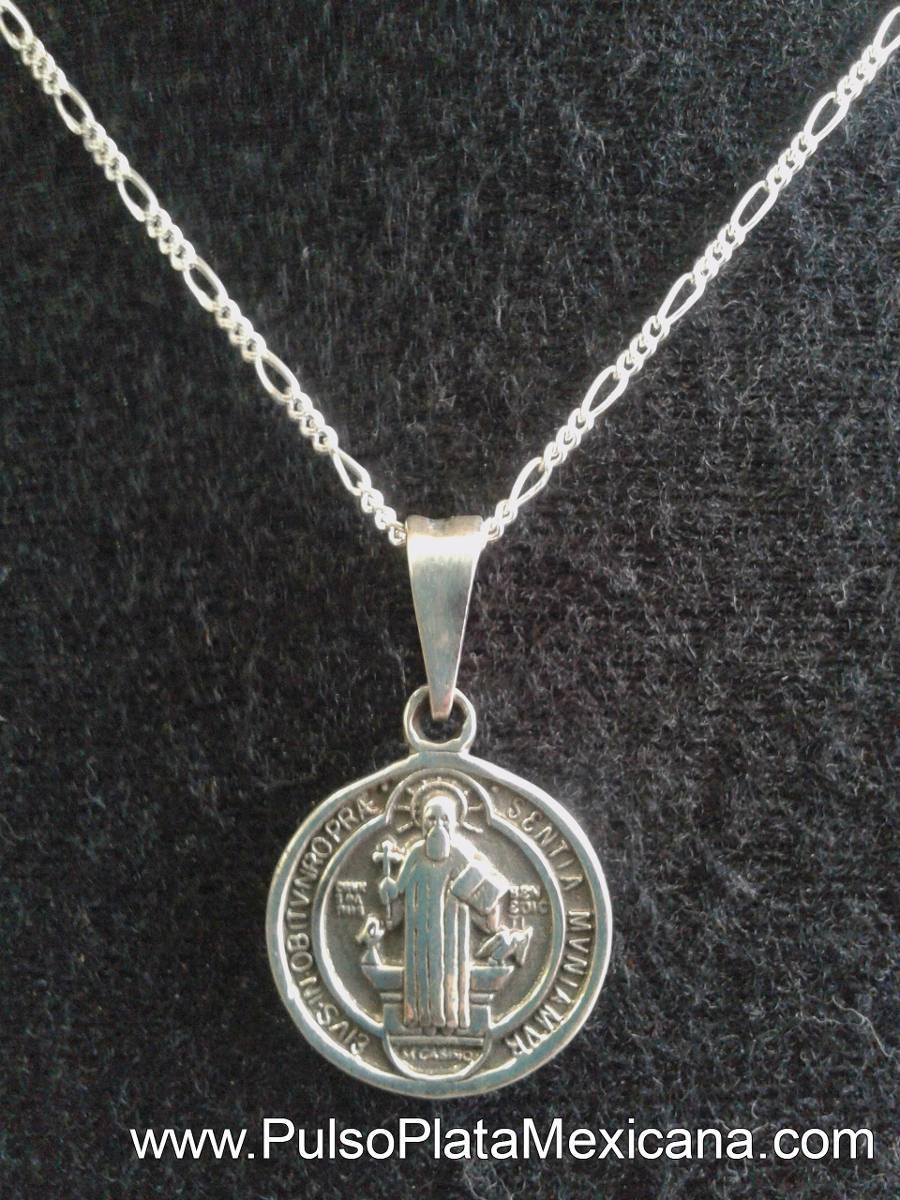dac557b42c55 Dije Plata Ley 925 Medalla San Benito Con Cadena 50cm Taxco