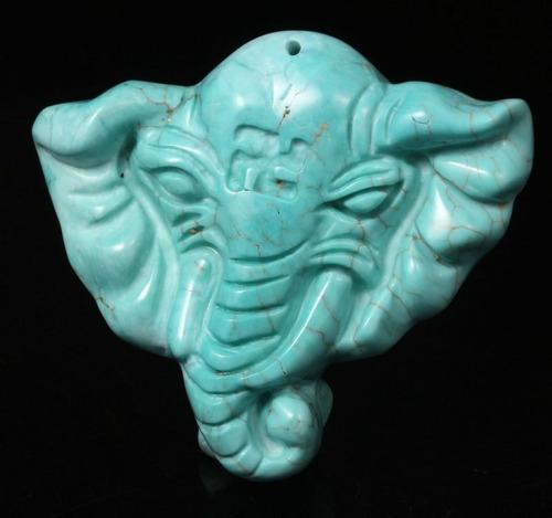 dije relieve de elefante turquesa