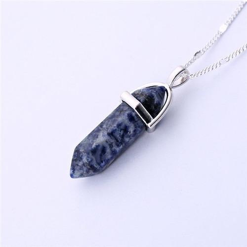 dije roca natural cuarzo # 10 - piedra azul blanca