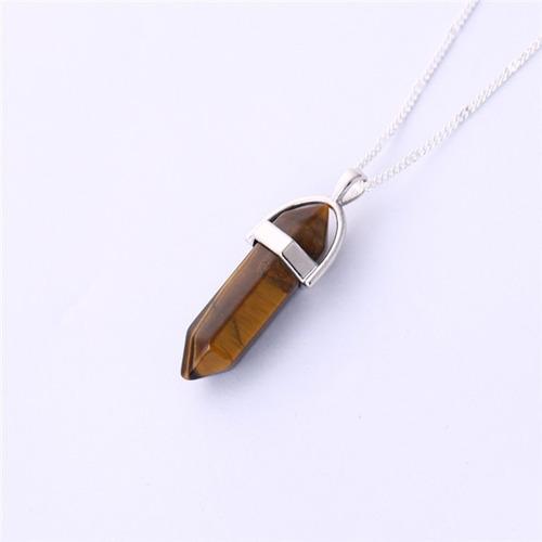 dije roca natural cuarzo # 4 - color marron