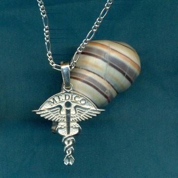 dije símbolo de medico con cadena plata fina ley.925