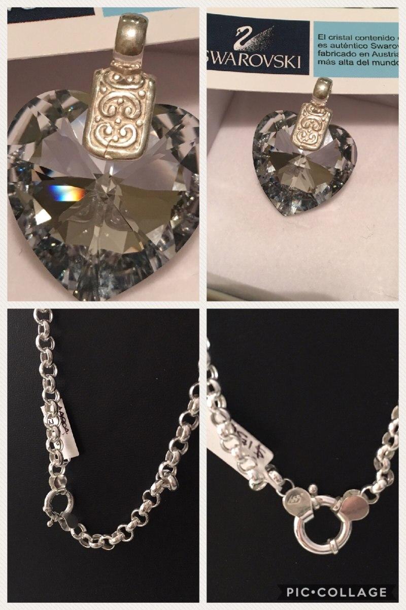 8d8d00aa63ec26 dije swarovski cristal silver night 28 mm cadena plata 925. Cargando zoom.