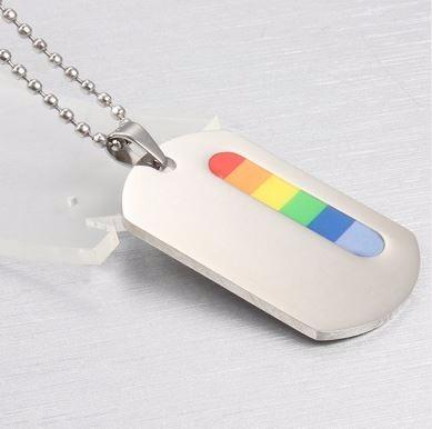 dije tipo placa de identificacion lgbt arcoiris