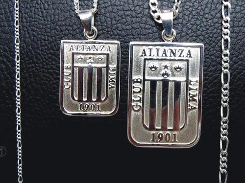 dije y cadena alianza lima en plata 950  collar, cristal, u