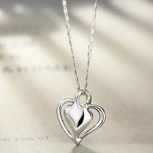 dije y collar corazón cristal swarovski elements regalo