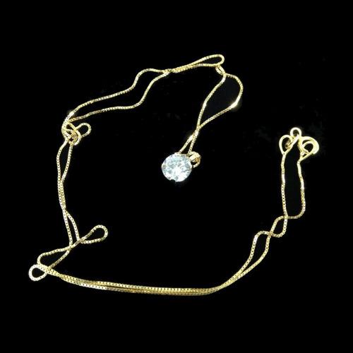 dije zirconia brillante + cadena oro 14k regalo amor gbm