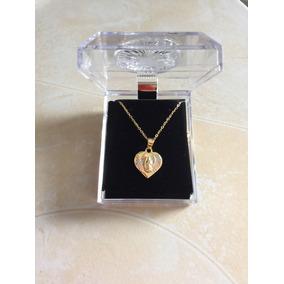 2cefbaa20f7f Medalla Virgen De Guadalupe De Corazon Oro Laminado 14k