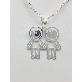 d8c6f563b709 Cadena Y Dije De Dos Niños - Dijes y Medallas Plata Sin Piedras en ...
