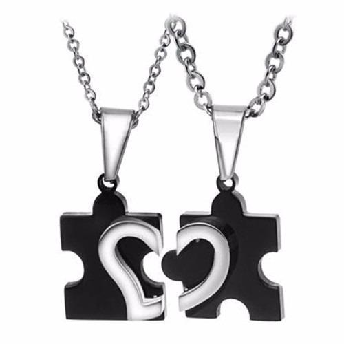 dijes parejas diseño rompecabezas corazon - color negro
