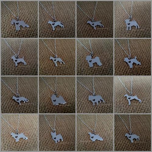 dijes perros de plata personalizados. 50 razas disponibles