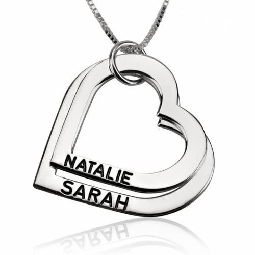 dijes plata 925 en forma de corazones personalizados