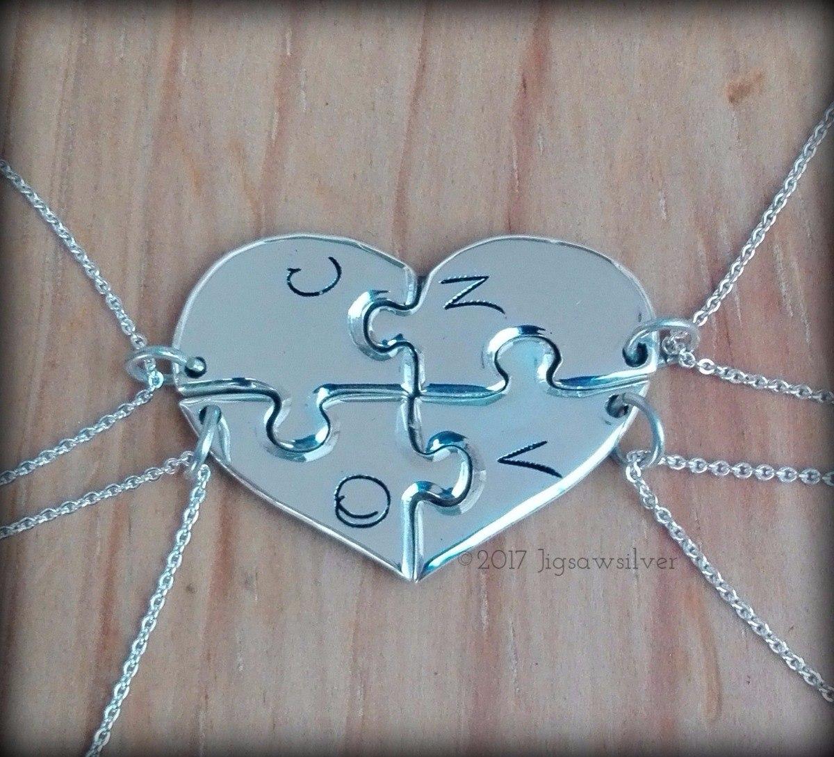 a12627308dd3 dijes rompecabezas 4 piezas corazón personalizado en plata. Cargando zoom.