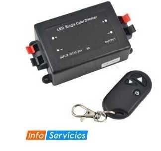 dimmer 12/24v control remoto cinta led,  dicroico