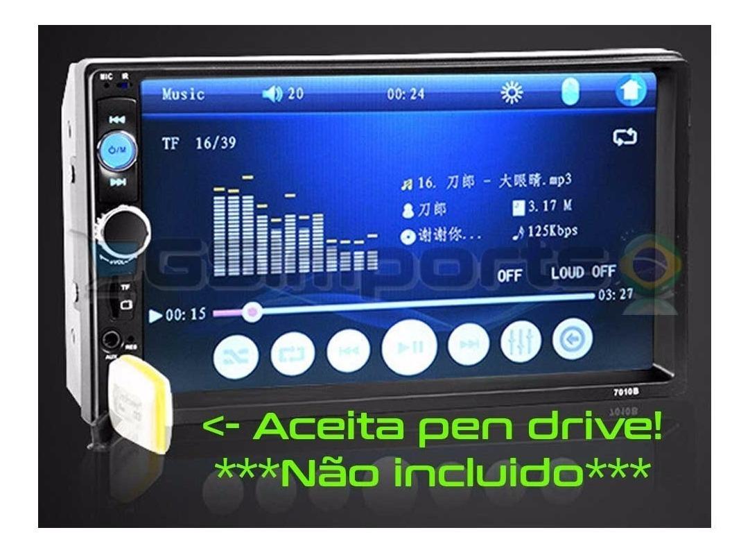 Din Car Mp5 Player 7 Polegada Sd Usb Fm Bluetooth Toque Tela