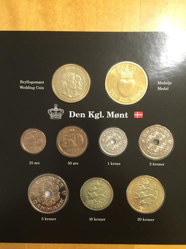 din-s04 set 8 monedas dinamarca 2004 unc-bu ayff
