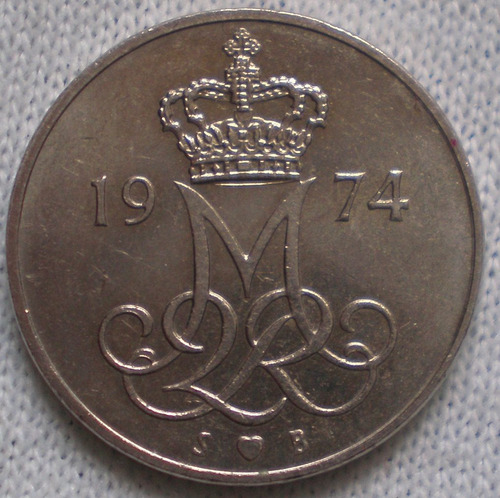 dinamarca 10 ore año 1974 moneda de cuproníquel km# 860.1